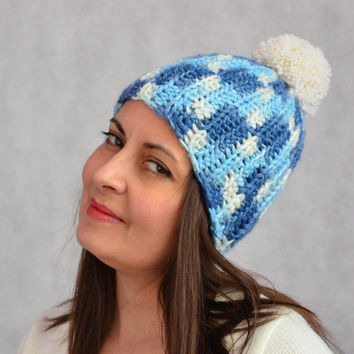 Womens beanie hat, Crochet pom pom hat, wool hats, blue and cream beanie, chunky hat