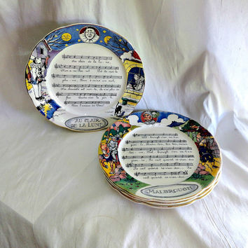 Sarreguemines Plates Faience French Set of Four Victorian