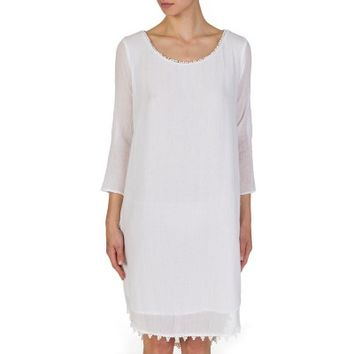 Velvet White Bobble Trim Lined Cotton Dress