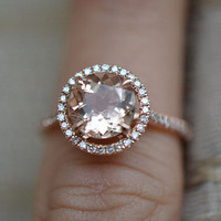 2.35ct Morganite Pave .32ct Diamond Solid 14K Rose Gold Wedding Ring