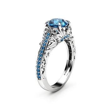 Blue Diamond Engagement Ring White Gold Ring Filigree Ring Diamonds Engagement Ring