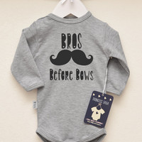 Bros Before Bows Baby Boy Clothes. Hipster Baby Boy Romper With Mustache Print. Baby Shower Gift. Hipster Baby Boy Shirt. Choose Your Color