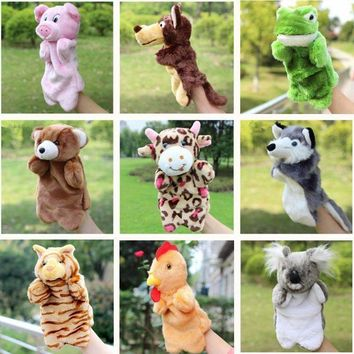Animal Plush Hand Puppet Doll Toys Pig Cat Owl Monkey Dog Rabbit Shark Bear Puppet Kids Soft Kukla Toys Marionnette