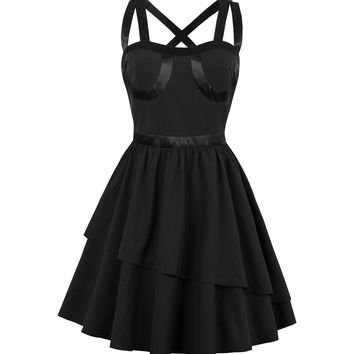 Rosetic Black Haletr String A-line dress