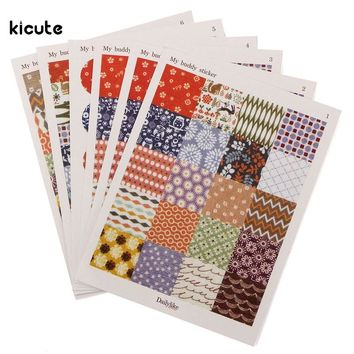 6pcs Cute Novelty Decorative Printing Labels Stickers For Journal Scrapbooking Diary Planner Album Decor Multi Pattern