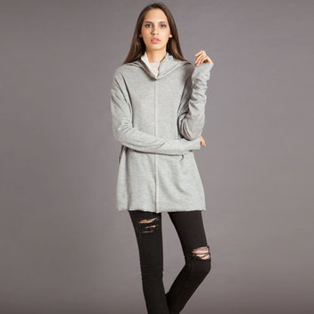 Grey Winter Turtleneck Long Sleeve Women Tunic Oversize Shirt