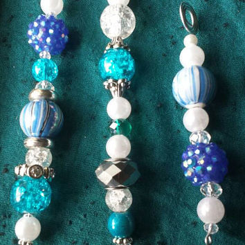 Festive Beaded Icicle Ornaments in Blue, White, Silver - Set of 3