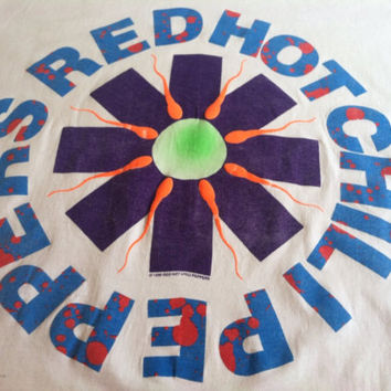 "Vintage 1990 RED HOT CHILI Peppers T-shirt/ Original Rare ""Sperm"" Mother's Milk Promo Shirt/ Funk Punk Rock Hall Of Fame Band Tee"