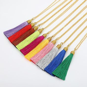 LOVBEAFAS Long Tassel Necklace Women Gold Chain Fashion Jewelry Boho Vintage Statement Fringe Bohemian Necklace Collier