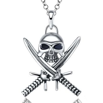 Pure Sterling Silver Jewelry Skull Two Swords Pendant Necklace