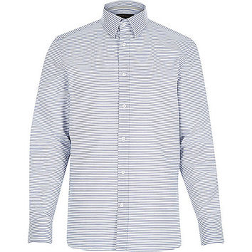 River Island MensWhite horizontal stripe shirt