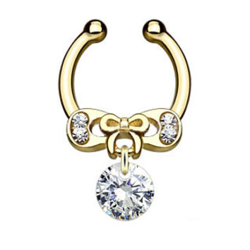 Ribbon CZ Dangle Faux Septum Hanger