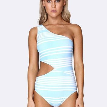 Allerton Cold Shoulder Asymmetrical One Piece - Tropical Punch