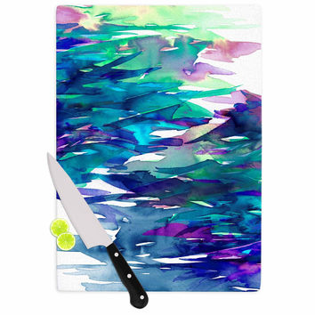"Ebi Emporium ""Fervor 5"" Blue Teal Cutting Board"