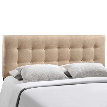 Beige Emily King Fabric Headboard
