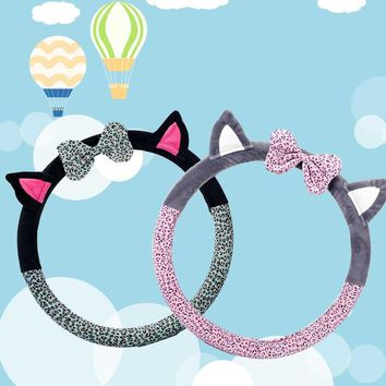 Cute Cat Ear Steering Wheel Cover Short Plush Covers - Leopard Print With Cat Ears