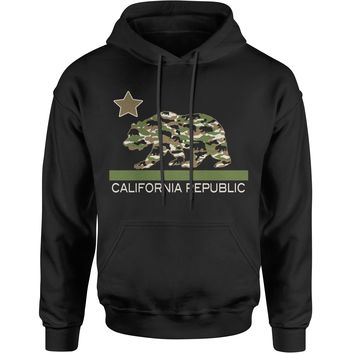 California Republic Camo Bear Adult Hoodie Sweatshirt