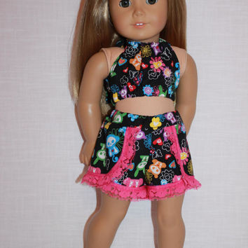 18 inch doll clothes, skeleton animal print halter top, skeleton animal print lace trim dolphin shorts , Upbeat Petites