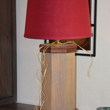 "Handmade Oak and Mahogany  Octagon Table Lamp - 36"" T- Weathered Finish - Red Burlap Shade -  KAGUMISE'S ""Mokuzai"" Lighting Collection"