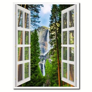 Waterfalls Yosemite National Park California Picture French Window Canvas Print with Frame Gifts Home Decor Wall Art Collection
