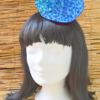 Mouse Ears Hairclip, blue sequins, shiny blue, costume burlesque, fascinator glitter, women hat, sparkling headdress, kawaii ears, navy blue