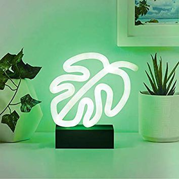 "Merkury Innovations 7"" inch LED Neon Green Monstera Leaf Night Light, Mood Light with Pedestal,Battery Operated Wall Art,Bedroom Decorations,Lamp,Home Accessories,Party and Holiday Decor: Neon Green"