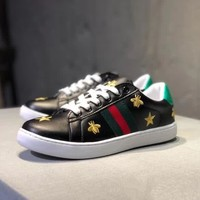 """""""Gucci"""" Unisex Casual Fashion Little Bee Embroidery Genuine Leather Plate Shoes Couple Small White Shoes Sneakers"""
