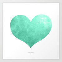 Green Heart Art Print by Epherica Art