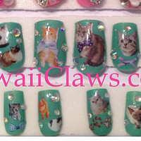 Kawaii Sweet Kitty Cat Decoupage Nails with rhinestones full false/fake 3D nail Lolita