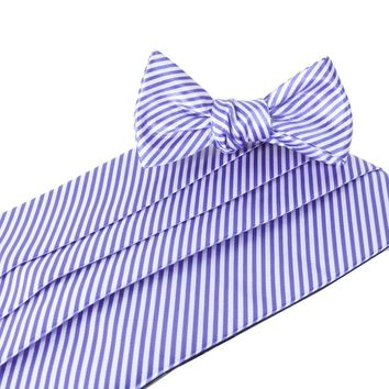 CG Stripes Signature Series Cummerbund and Bow Set in Purple by Collared Greens