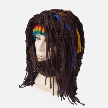 NEW Wig Beard Hat Rasta Beanie Caveman Bandana Handmade Crocheted Gorro Winter Men Women Halloween Costume Funny Birthday Gifts
