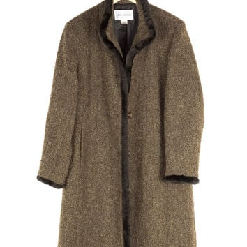 long wool fleece coat with faux fur trim / vintage / brown / warm winter jacket / simple / elegant / classic / womens size 12
