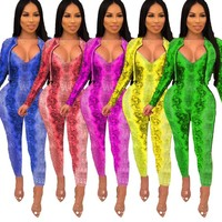 Women Snake Print Two Piece Fashion Jacket + Jumpsuit Set
