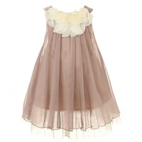 Kid's Dream Girl's Mocha Lovely Silk Chiffon Girl Dress