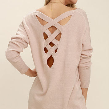 All Time Best Blush Pink Backless Sweater