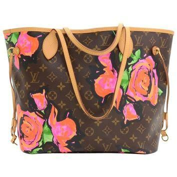 Louis Vuitton Neverfull MM Stephen Sprouse Monogram Canvas Shoulder Tote Bag