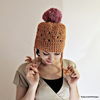 Orange Crochet Hat With Pink Pom Pom by RubyLovesFlamingos on Etsy