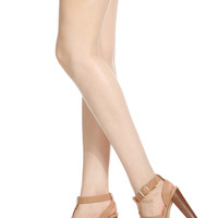 Natural Faux Leather Open Toe Chunky Platform Heels