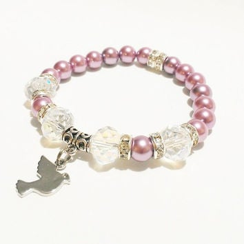 Dove Jewelry / Dove Charm Bracelet / Dove Bracelet / Purple and White Bracelet / Pearl Dove Bracelet / Bird Jewelry / Animal Jewelry