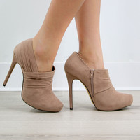 Vegas to Venice Taupe Booties With Almond Silhouette And Pleated Detail