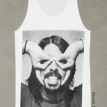 Dave Grohl Foo Fighters Finger Mask Music Shirt Tank Top Vest Tunic White Singlet Sleeveless Women Alternative Pop Rock T-Shirt Size S-M