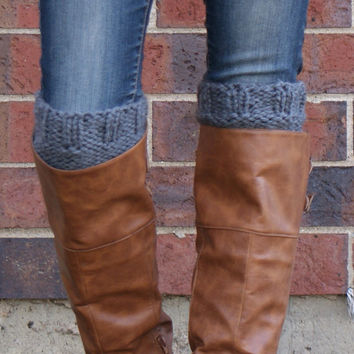Women's Boot Cuffs, Boot Toppers in Charcoal