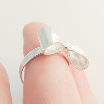 Silver Ring 3D Sterling Silver Bow Ring, Silver Jewelry, Fashion Jewelry, Bow Jewelry,Ribbon, Gift., Jewelry, silver, rings.Trending Jewelry