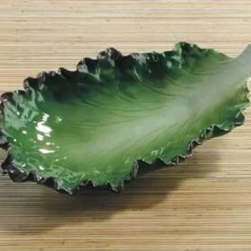 Red Leaf Lettuce Ceramic Pasta Serving Plate 11.5L