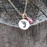 Footprint Charm Necklace - Custom Birthstone . Solid Bronze, 14K Gold Fill, Swarovski Crystal . New Baby, New Mom, Mothers Day