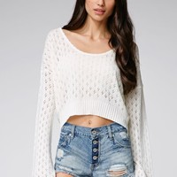 Some Days Lovin Suspicious Long Sleeve Cropped Top - Womens Tee - White