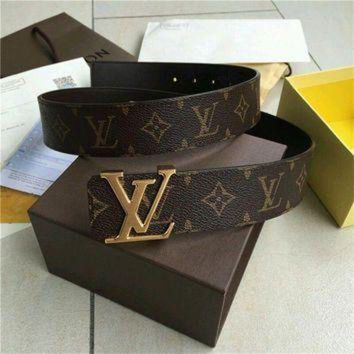 DCCK9 Louis Vuitton LV Belt golden Reversible 40mm Monogram Belt Size 110CM**