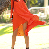 Jacinth Long Sleeve High-Low Chiffon Dress