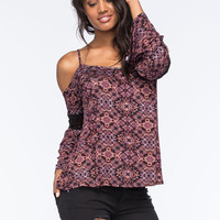 Full Tilt Crochet Cold Shoulder Womens Top Multi  In Sizes