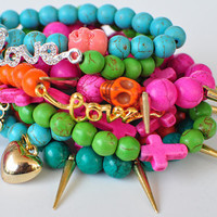 2 ARM CANDY Beaded Stackable Bracelets Love Spike Skull Cross Bling  - Hot Pink  Green Turquoise